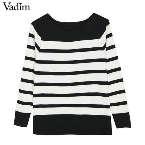 Fashion striped sweater - BLACK / One Size - sweater
