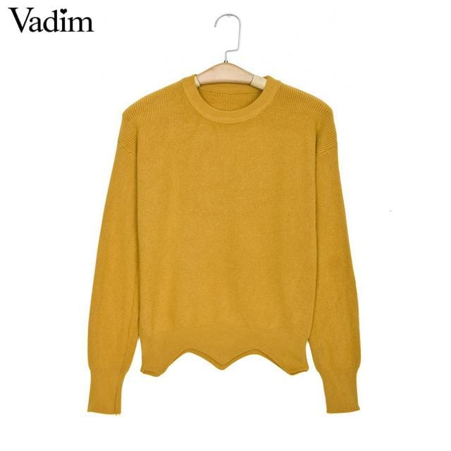 Fashion sweaters with cute heart for womens 2018 - yellow / One Size - Sweaters