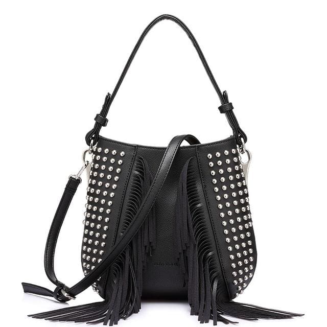 Fashion tassel shoulder bag vintage. handbags high quality. messenger bag for women 2018 - Black / China / (20cm<Max Length<30cm) - Shoulder