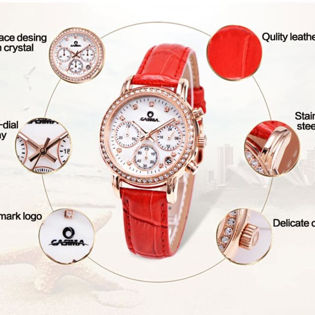 Fashion watche for womens waterproof with leisure gold crystal - Luxury watche
