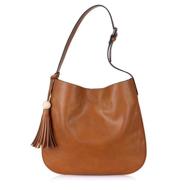 Fashion women 2018 bucket tassel design. bag artificial leather. ladies handbag & shoulder bag - Chocolate / China / (30cm<Max Length<50cm)