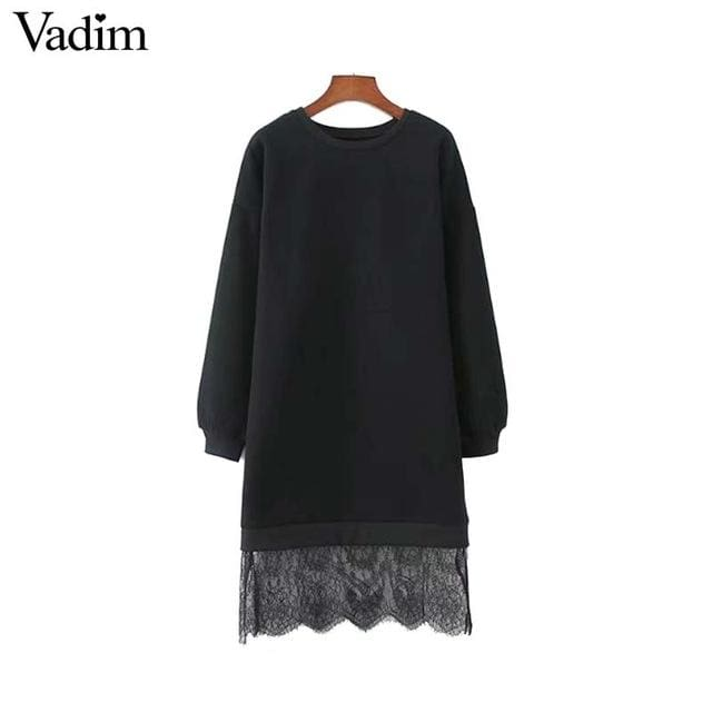Fashion women chic lace patchwork oversized long sweatshirt - Black / L - Sweater