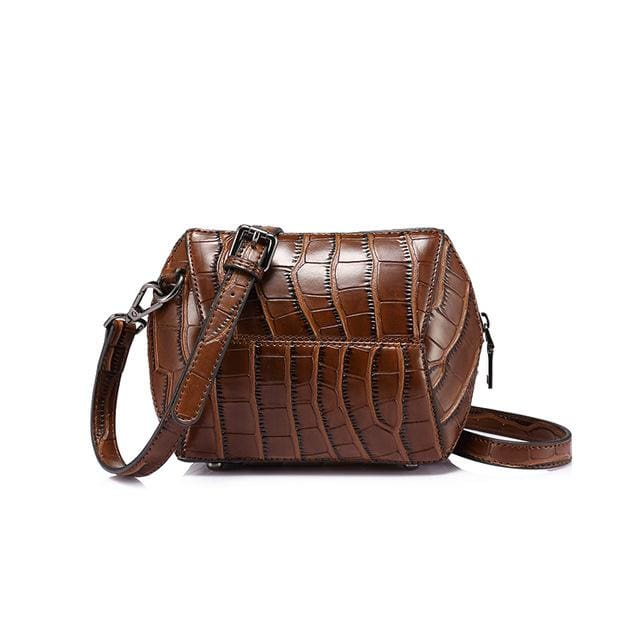 Fashion women crossbody bag 2018 female high quality patchwork shoulder messenger bag Red/Green/Brown/Nude Pink - Brown / China - Handbags