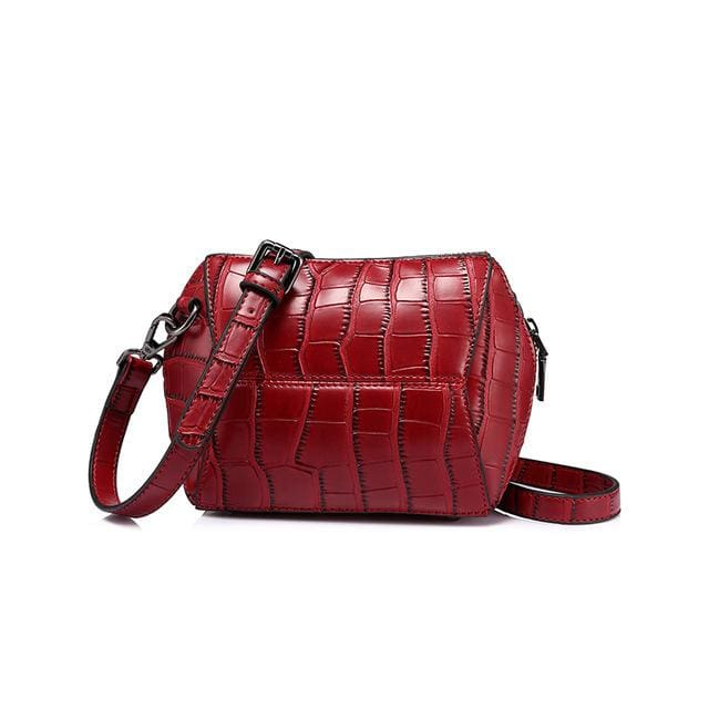 Fashion women crossbody bag 2018 female high quality patchwork shoulder messenger bag Red/Green/Brown/Nude Pink - Red / China - Handbags