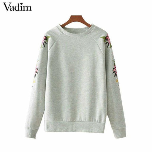 Fashion women elegant floral embroidery sweatshirts - Pullover