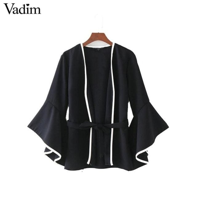 Fashion Women elegant sashes jacket coat flare sleeve coats 2018 - Black / L - Coats
