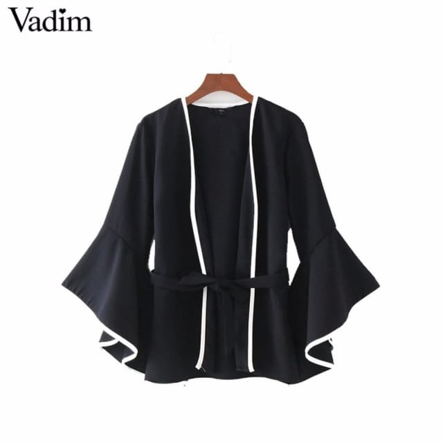 Fashion Women elegant sashes jacket coat flare sleeve coats 2018 - Coats