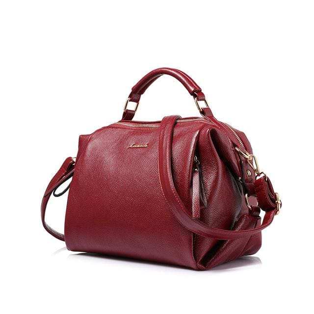 Fashion women handbag female shoulder bag high quality soft ladies crossbody bag 2018 PU - Burgundy / China / (30cm<Max Length<50cm) -