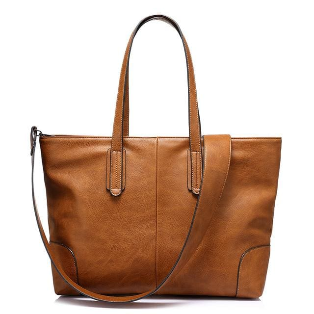 Fashion women handbag large capacity shoulder bags 2018 new zipper packet designer high quality PU tote bags - Brown / China / (30cm<Max