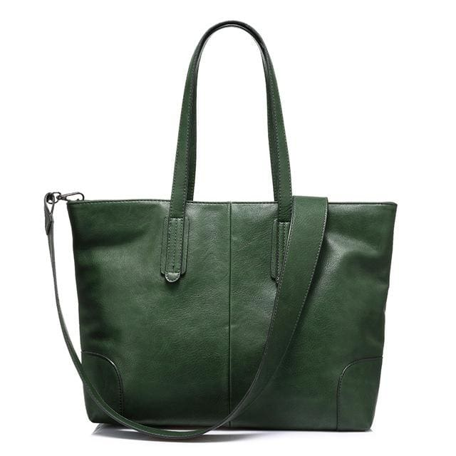 Fashion women handbag large capacity shoulder bags 2018 new zipper packet designer high quality PU tote bags - Dark Green / China /
