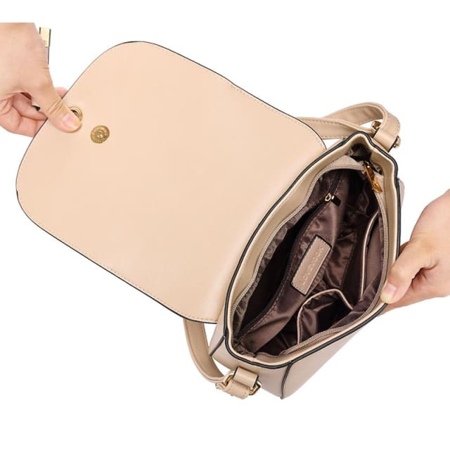 Fashion women messenger bag 2018 female zipper crossbody bags high quality saddle shoulder bag Purple/Apricot/Beige - Crossbody Bags