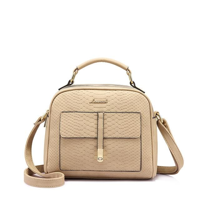 Fashion women shoulder bag 2018 female crossbody bag high quality ladies handbag flap with thread - Apricot / China / (20cm<Max Length<30cm)