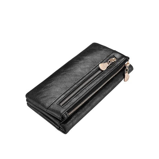 Fashion women wallet double zipper artificial leather women black card holder famale clutch purse coin purse - Black / China - Standard