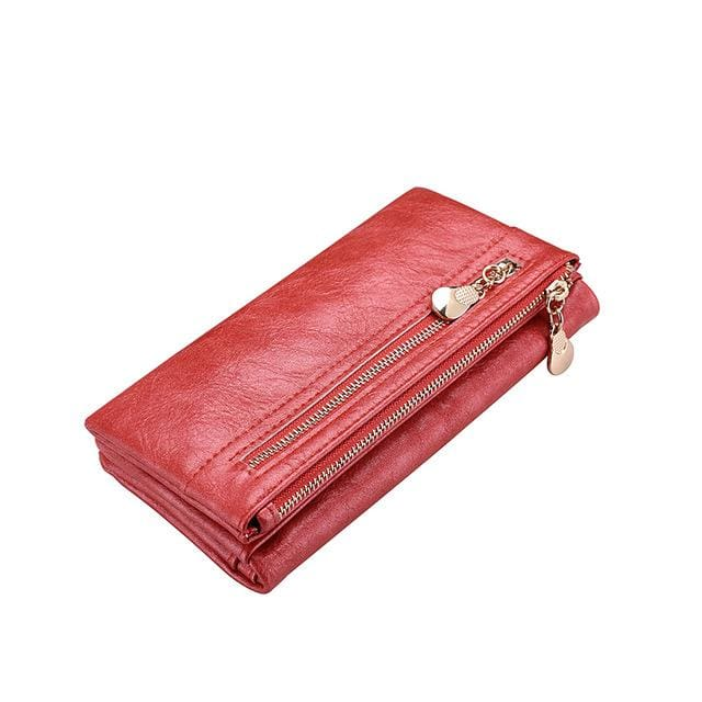 Fashion women wallet double zipper artificial leather women black card holder famale clutch purse coin purse - Red / China - Standard
