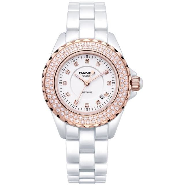 Fashion Women watches 2018 with elegant ceramic White quartz - CA 6702 CD8R - Luxury watche