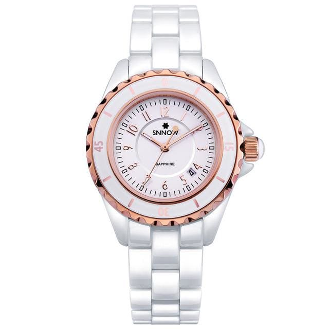 Fashion Women watches 2018 with elegant ceramic White quartz - CA 6702 CR8R - Luxury watche