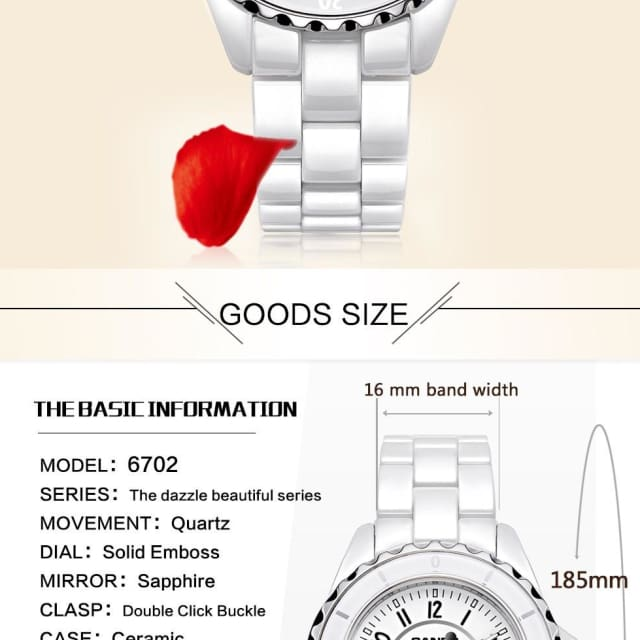 Fashion Women watches 2018 with elegant ceramic White quartz - Luxury watche