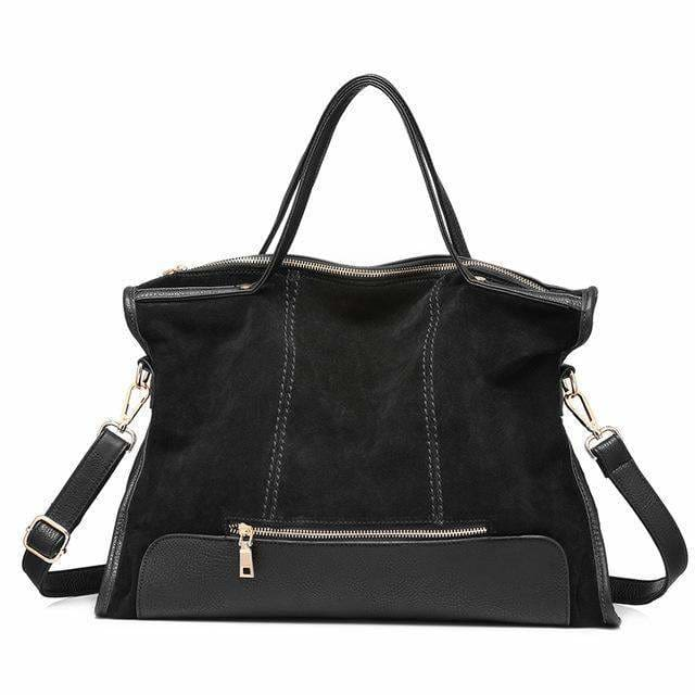 Fashion womens shoulder bag high quality. patchwork split leather handbag for ladies. tote bag for office work - Black / China - Handbags &