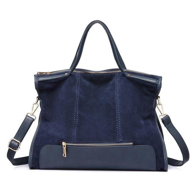 Fashion womens shoulder bag high quality. patchwork split leather handbag for ladies. tote bag for office work - Dark Blue / China -