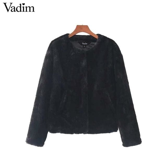 Faux Fur coat for womens casual outerwear 2018 - Black / L - Coat