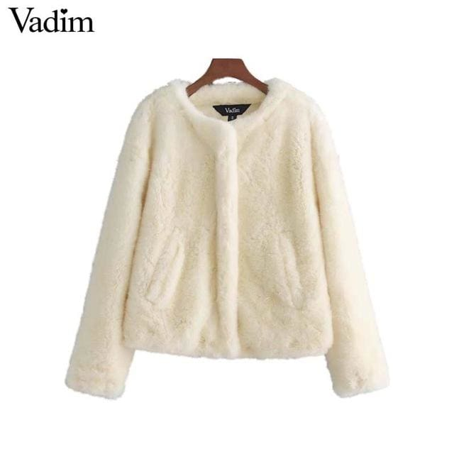 Faux Fur coat for womens casual outerwear 2018 - White / L - Coat