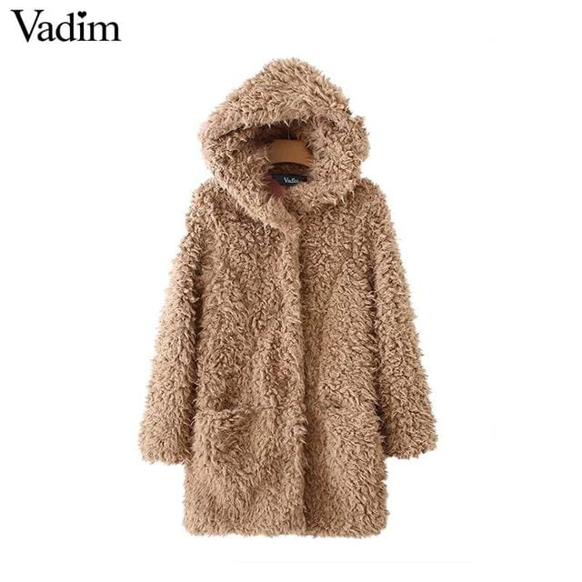 Faux fur hooded long coat winter - as picture / L - Faux Fur