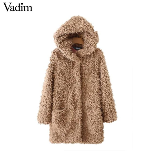 Faux fur hooded long coat winter - Faux Fur