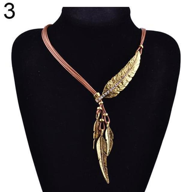 Feather Necklace - Gold Coffee
