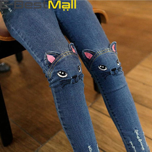 Girls Jeans - Cute Cartoon Pattern - Jeans