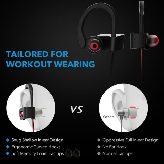 Headphones noise canceling bluetooth 4.1- sports earphone earbuds with mic - Earphone