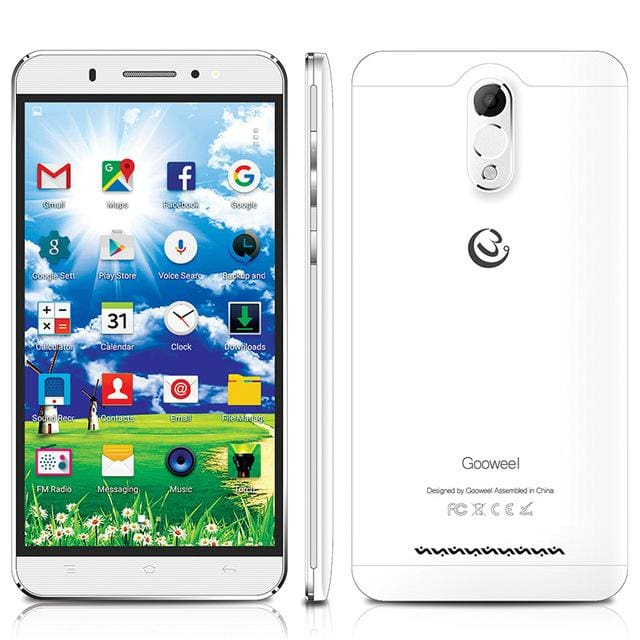 Hot Gooweel M3 Smartphone 6.0 inch IPS big screen MTK6580 quad core 3G Mobile phone 8MP camera GPS 1GB RAM 8GB ROM - Standard phone / white