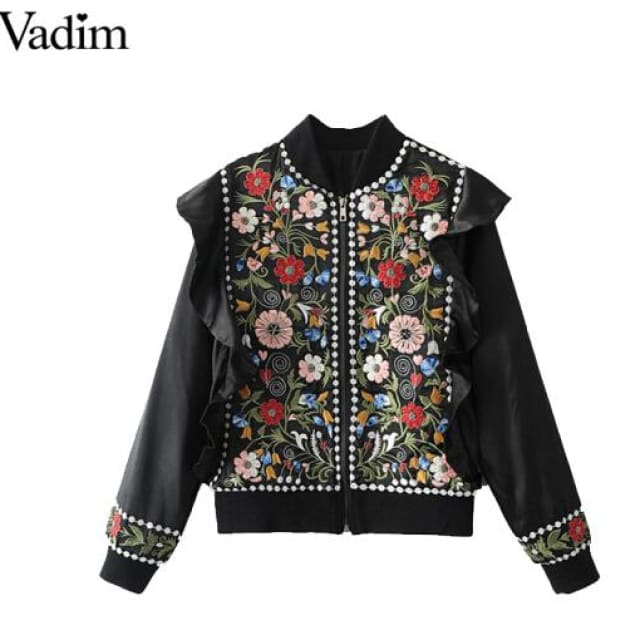 Jacket vintage flower embroidery - as picture / L - Basic Jacket