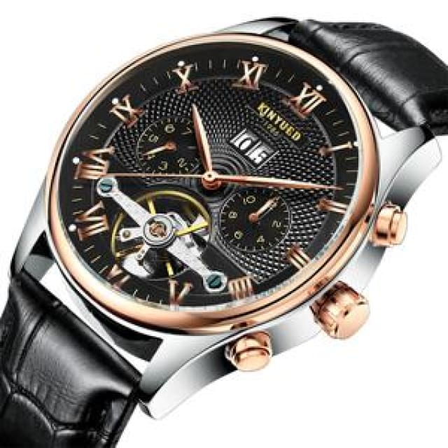 KINYUED Skeleton Automatic Watch for Men Waterproof Flying Tourbillon Mechanical Watches - Black Leather Band - Mechanical