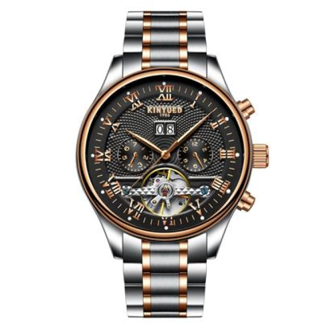 KINYUED Skeleton Automatic Watch for Men Waterproof Flying Tourbillon Mechanical Watches - Black Silver Band - Mechanical