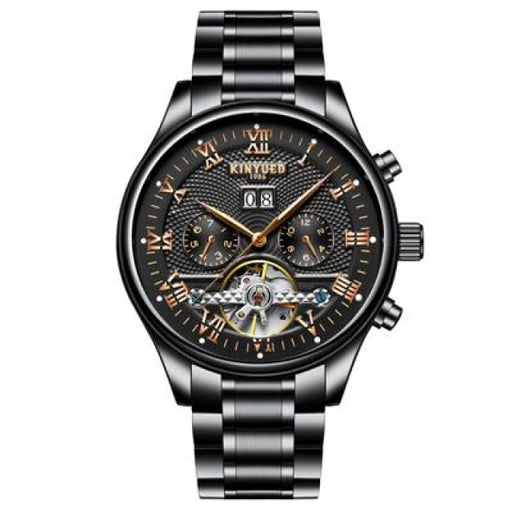 KINYUED Skeleton Automatic Watch for Men Waterproof Flying Tourbillon Mechanical Watches - Black Steel Band - Mechanical