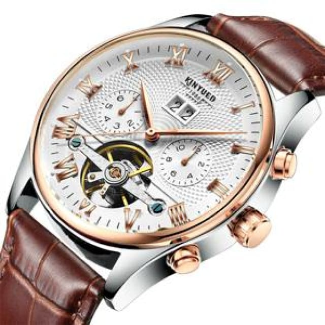 KINYUED Skeleton Automatic Watch for Men Waterproof Flying Tourbillon Mechanical Watches - Brown Leather Band - Mechanical