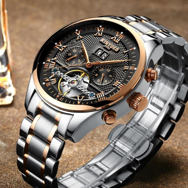 KINYUED Skeleton Automatic Watch for Men Waterproof Flying Tourbillon Mechanical Watches - Mechanical