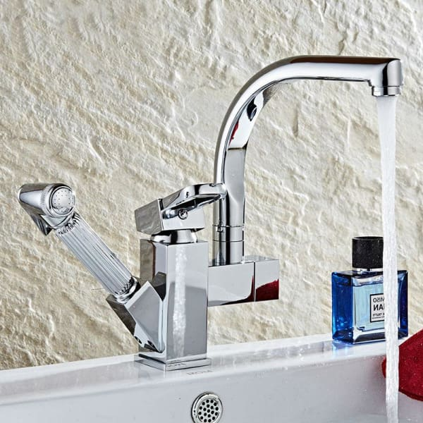Kitchen Basin Faucet with Pull Out Down - Chrome - Kitchen Faucets