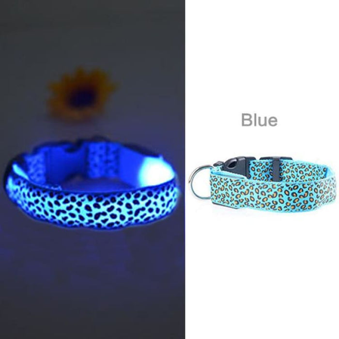 LED Dog Collar Flashing - Nylon - Blue / S