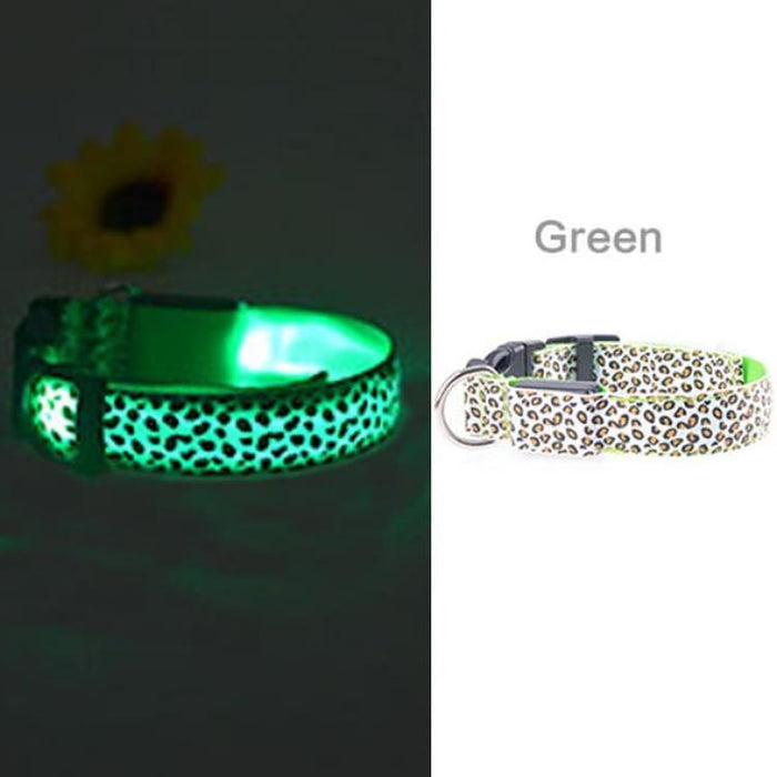 LED Dog Collar Flashing - Nylon - Green / S
