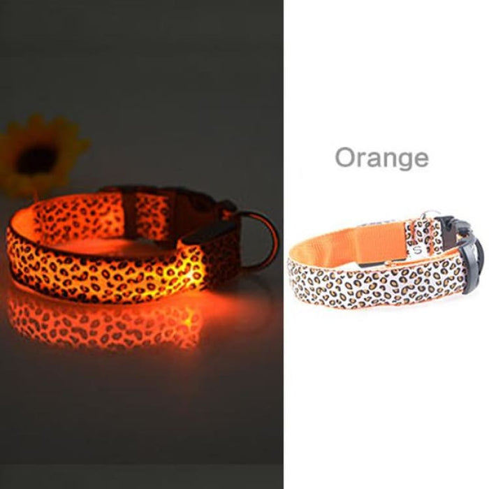 LED Dog Collar Flashing - Nylon - Orange / S