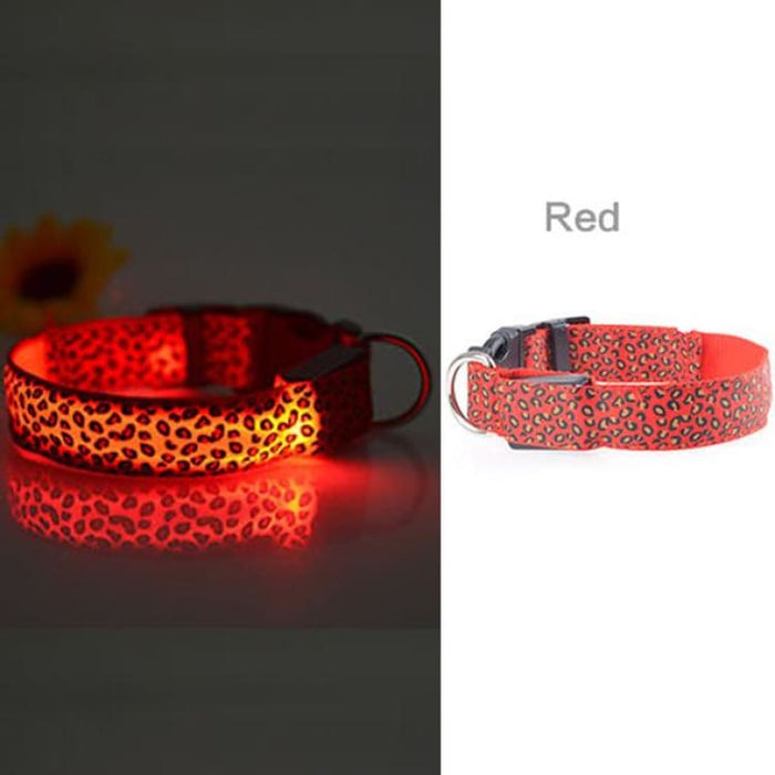 LED Dog Collar Flashing - Nylon - Red / S