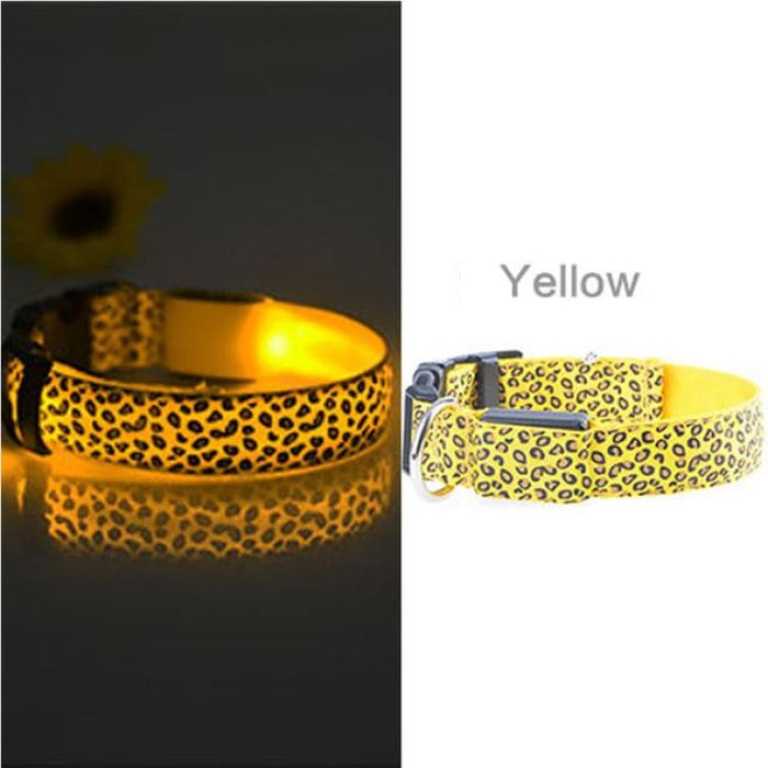 LED Dog Collar Flashing - Nylon - Yellow / S