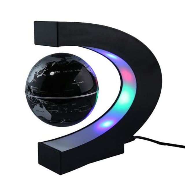 Levitating Globe with LED Light - black