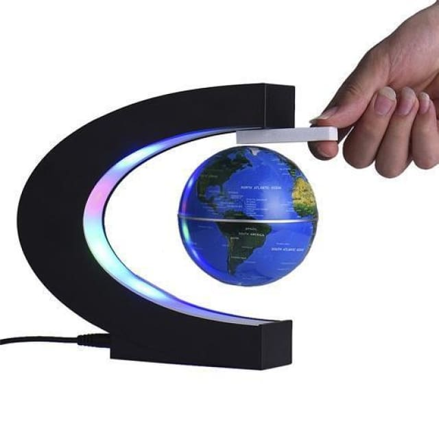 Levitating Globe with LED Light - blue