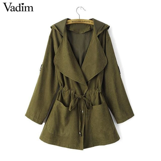 Long trench coats for women - Army Green / L / China - Trench