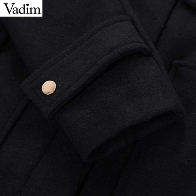 Long woolen coat thick black faux fur with hooded - Coat
