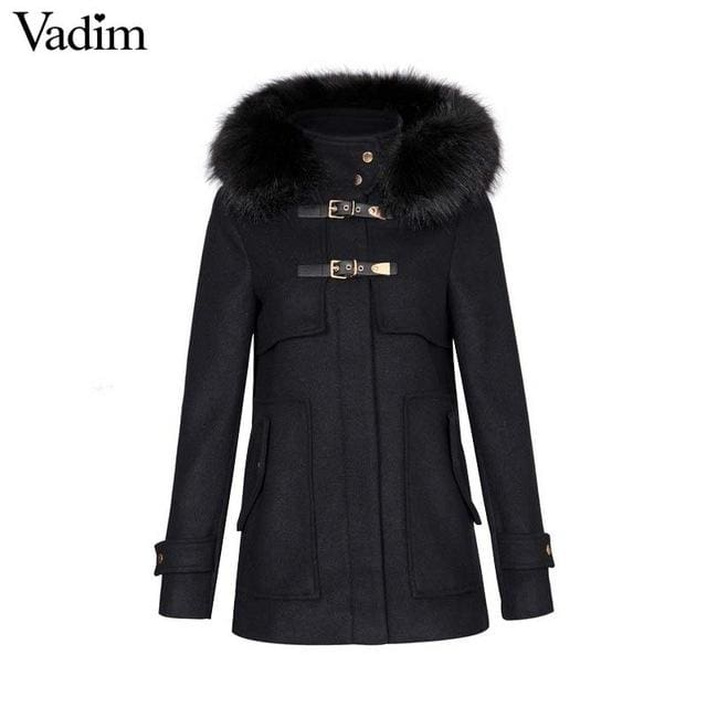 Long woolen coat thick black faux fur with hooded - Black / L - Coat