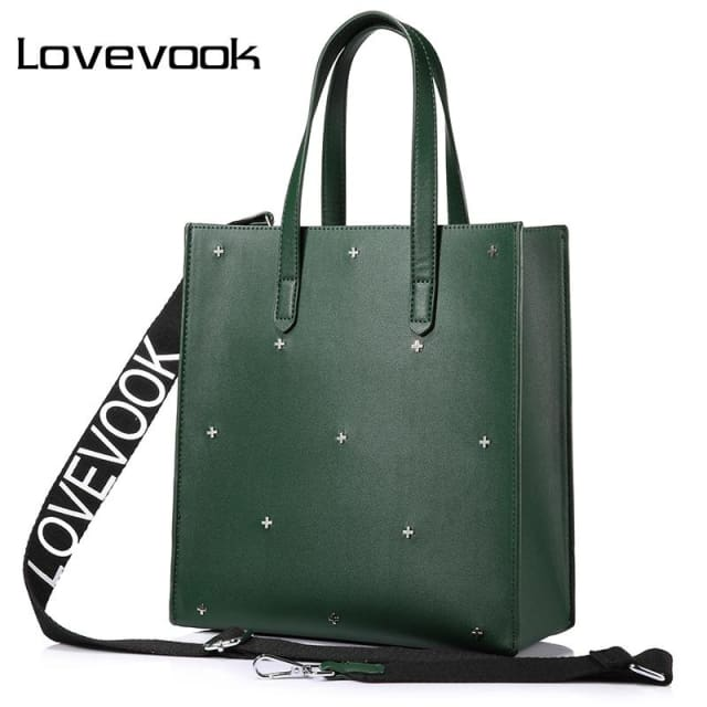 LOVEVOOK women handbags high quality PU female shoulder messenger bags tote large capacity famous brands luxury designer Black