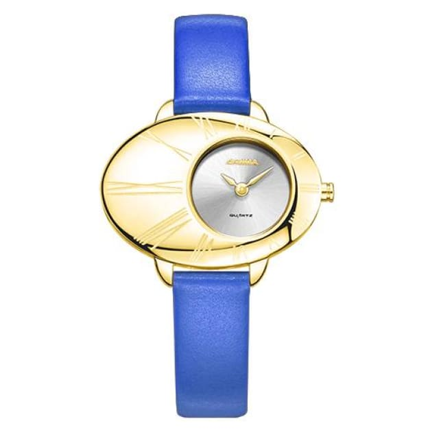 Luxury brand watches women fashion grace womens quartz wrist watch ladies Leather waterproof - Blue - Fashion
